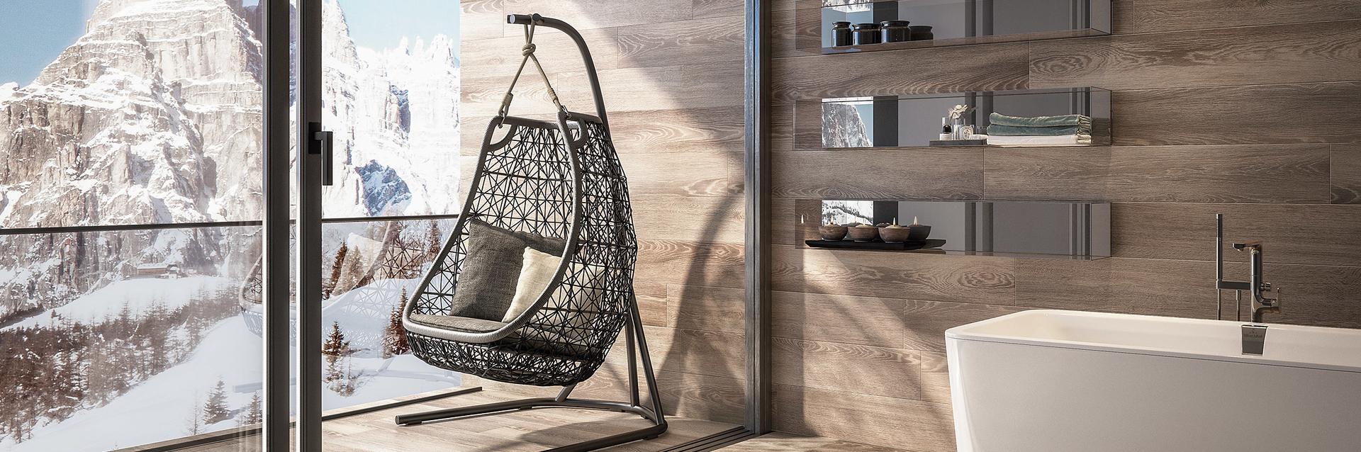 Tegels in houtlook geven een weelderig gevoel van luxe en rust