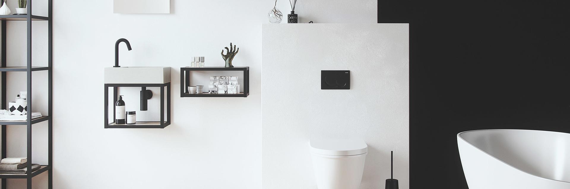 Wastafel voor de wc met stoere stalen frames