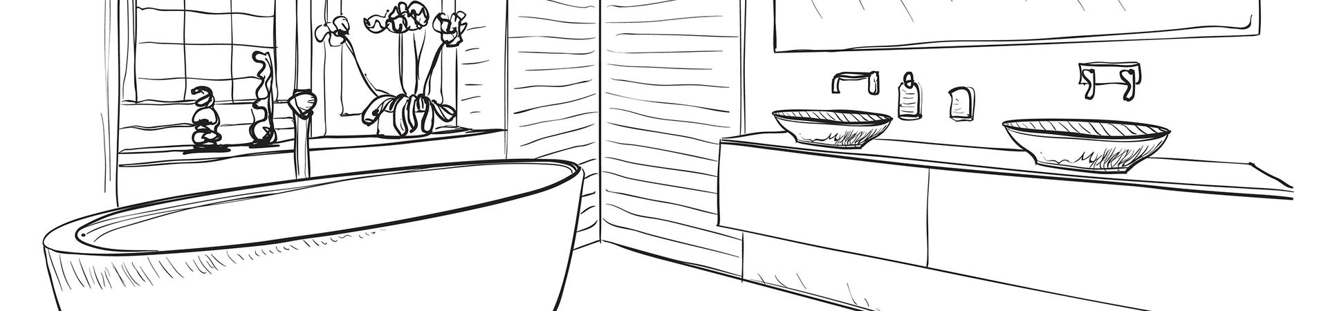 Badkamer schets ontwerp