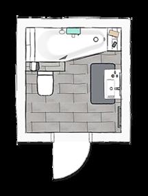 Kleine badkamer met bad - Collega Compact 2 - ruimte besparen