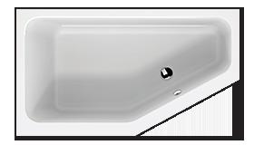 Wastafel in kleine badkamer - bad met afgeschuinde hoek