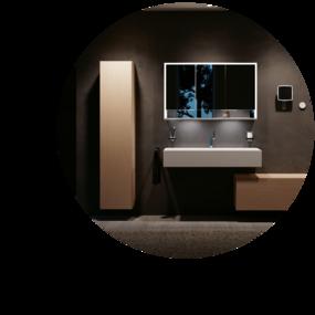 Badkamer marmerlook - Spiegel met verlichting
