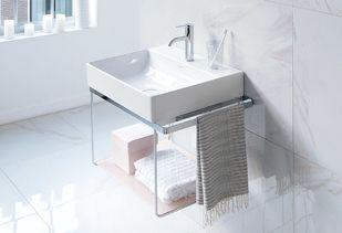 Badkamermeubel met wasbak en stalen frame