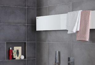 Betonlook badkamer met luxe design radiator