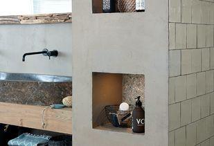 Teak houten badkamer muur met nisjes