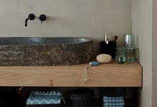 Teak houten badkamer wasbak van natuursteen