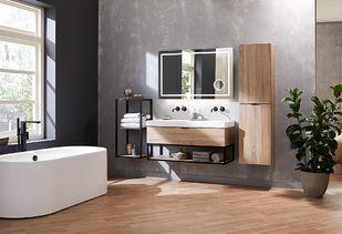 Maatwerk badkamermeubel van hout en staal
