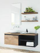 Maatwerk badkamermeubel hout en zwart