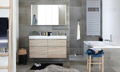 Familie badkamers - Gezinsbadkamer met blauwe accenten