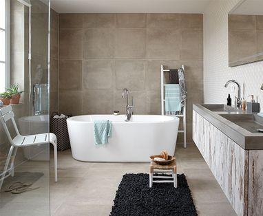 Vrijstaand bad - polaroid-landelijke-badkamer
