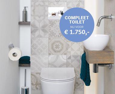 Acties - Compleet toilet met Portugese tegels