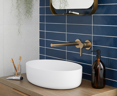 Kleur in de badkamer - Trend: blauw in de badkamer