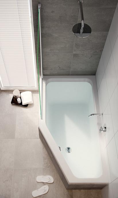 Baden - douchebad met afgeschuinde hoek
