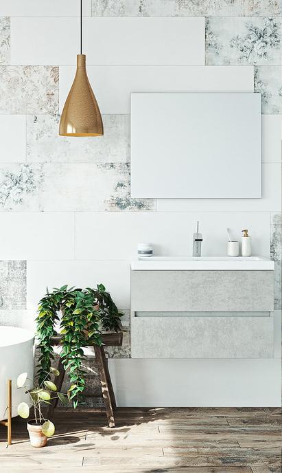 Moderne badkamer met tijdloze betonlook badkamermeubel