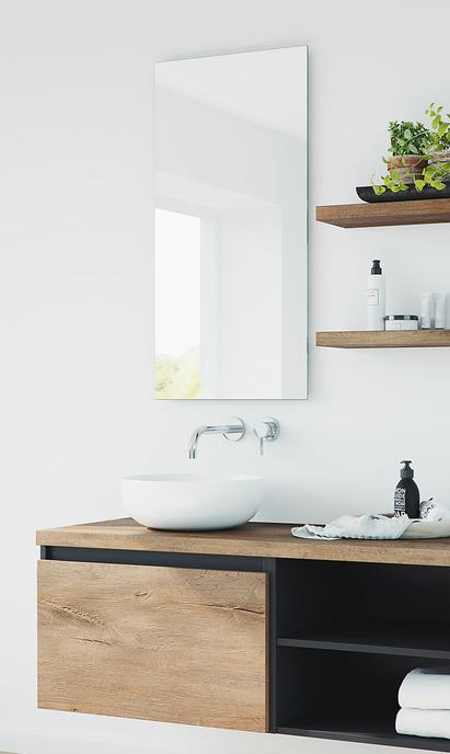 Moderne badkamer - Solid Surface opbouwkom op meubel van hout en staal