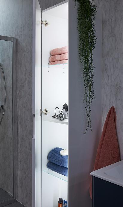 Bruynzeel badkamermeubel Karo wit kolomkast met verlichting