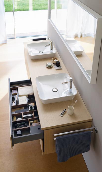 Duravit badkamermeubel I Cube wastafelmeubel dubbele opzetkommen bovenaanzicht met spiegelpaneel