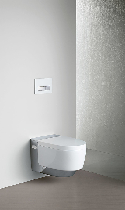 Geberit AquaClean Mera douchewc toilet chroom in badkamer detail