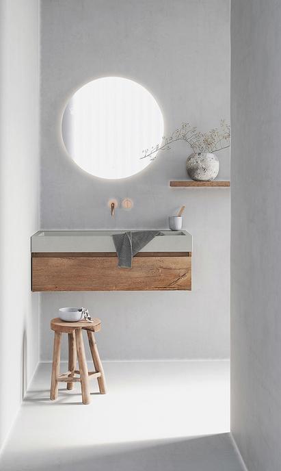 Primabad - Coast badkamermeubels - wastafelmeubel beton en hout - rond spiegelpaneel