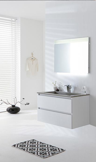 Primabad - Exclusive XL - wastafelmeubel wit - spiegelpaneel met led-verlichting