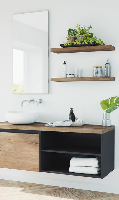 Primabad Original - wastafelmeubel hout met zwart