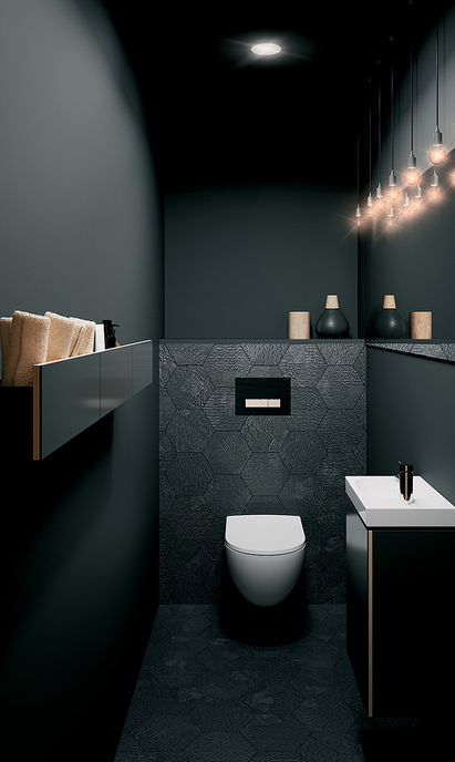 Sphinx Acanto - toilet met zwart wastafelmeubel en handdoekrek