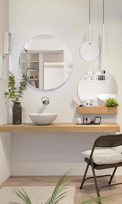 Natuurlijke badkamer met stijlvolle witte waskom