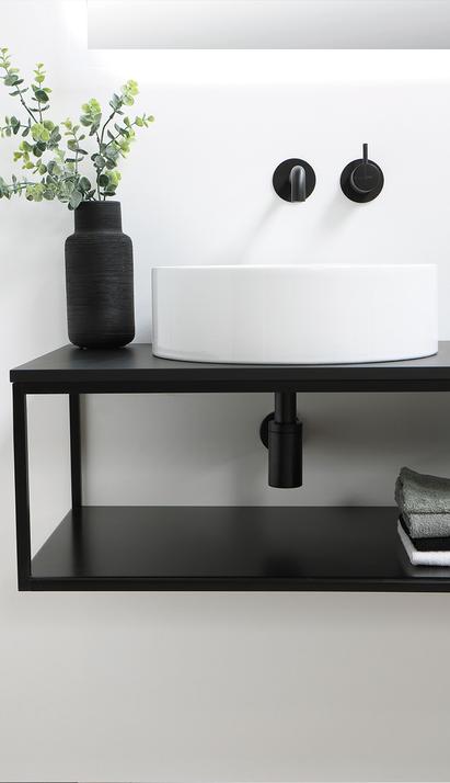 Ink - badkamermeubel zwart met witte opzetbak