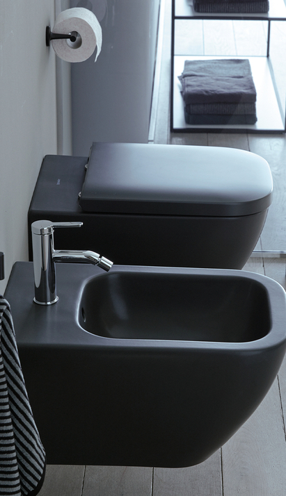 Duravit Happy D.2 Plus zwart toilet en bidet