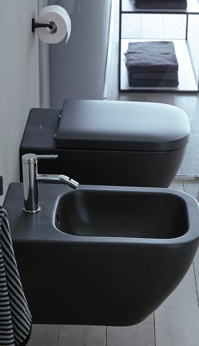 Duravit Happy D.2 Plus zwart toilet en bidet