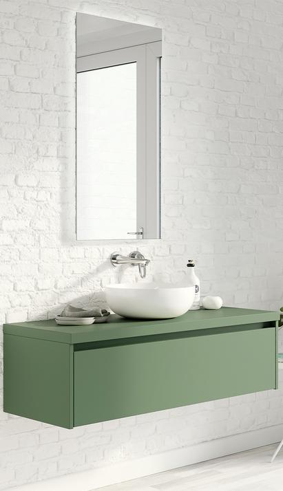 Moderne groene badkamerkast met witte opbouwkom