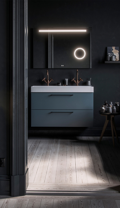 Primabad - Get Up - badkamermeubel zwart - spiegelkast