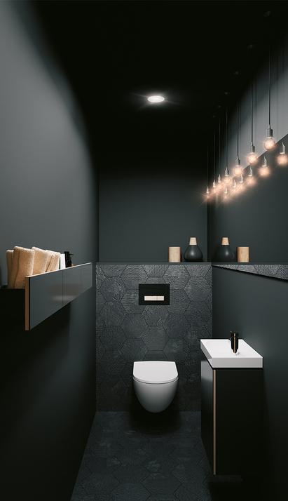 Geberit Acanto - toilet met zwart wastafelmeubel en handdoekrek