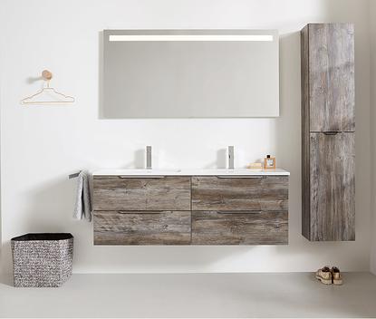 Familie badkamer extra breed badkamermeubel met dubbele wastafel