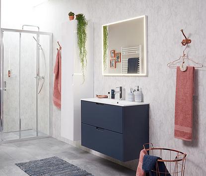 Badkamermeubel donkerblauw met witte wastafel