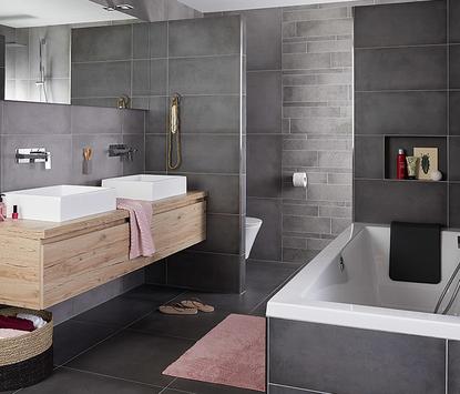 Badkamertegels - betonlook tegels