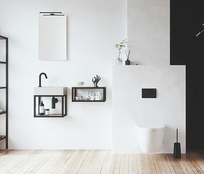 Wastafels voor wc met stoer stalen frame