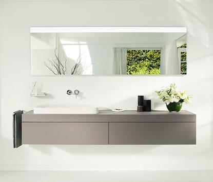 Luxe badkamer - breed antraciet grijs badkamermeubel