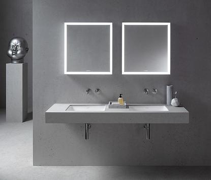Luxe badkamer met betonlook wastafel met dubbele wasbak