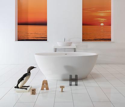 Natuurlijke badkamer - modern ovalen vrijstaand bad