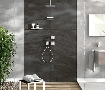 Natuurlijke badkamer douche bediening met één knop