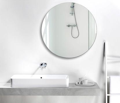 Natuurlijke badkamer - betonnen wastafel met opbouwkom