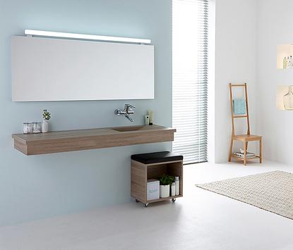 Comfort badkamer - houtlook wasmeubel met ingebouwde wasbak