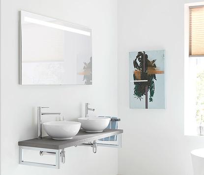 Comfort badkamer - minimalistisch meubel met dubbele opzetkom