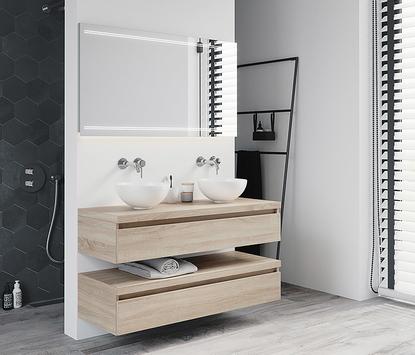 Moderne badkamer met op maat gemaakt meubel
