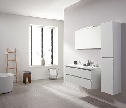 Moderne badkamer met ruime opstelling en witte meubels