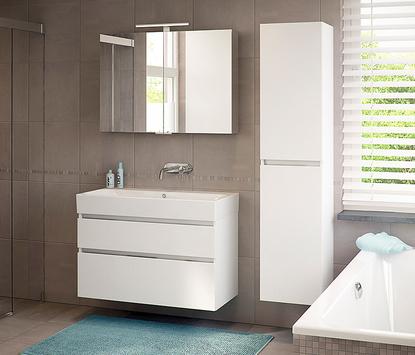 Bruynzeel badkamermeubel wit kolomkast spiegelpaneel