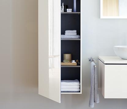 Duravit badkamermeubel I Cube kolomkast wit hoogglans detail