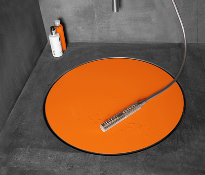 Easy Drain design douchegoot Dot oranje inleg detail