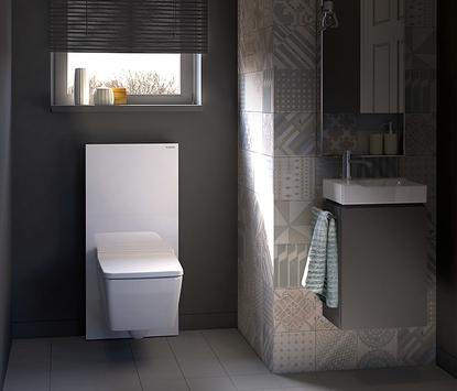 Geberit Monolith toilet reservoir wit badkamer